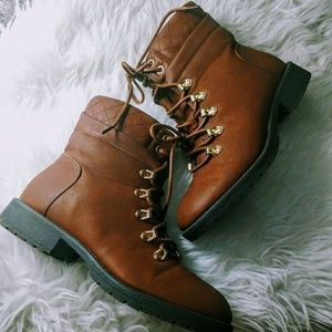 Brown Quilted Booties